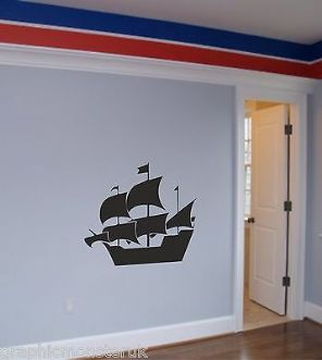 Pirate Ship Wall Art Sticker Gloss Vinyl Pirate Nautical Seaside